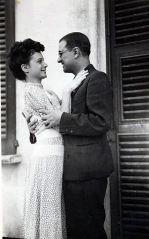 Con la moglie Lida in dolce attesa